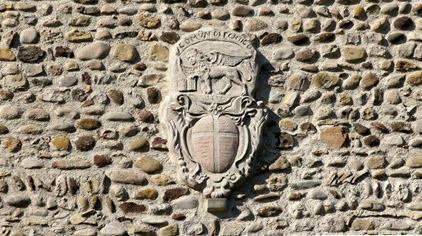 Stone coat of arms reproduced from a vintage print by the artist