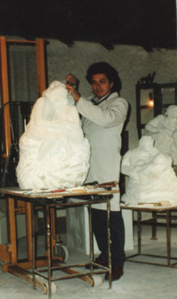 The sculptor at work in his studio